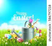 cute easter background with...   Shutterstock .eps vector #586797218