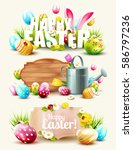 set of easter headers and... | Shutterstock .eps vector #586797236
