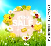 spring sale flyer   sunny... | Shutterstock .eps vector #586797635