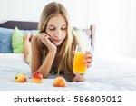 10 years old pre teen girl...   Shutterstock . vector #586805012