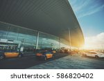 cabstand in front of modern... | Shutterstock . vector #586820402