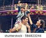 family holiday vacation... | Shutterstock . vector #586823246