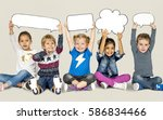children smiling happiness... | Shutterstock . vector #586834466