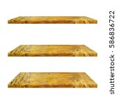 3 yellow wood shelves table... | Shutterstock . vector #586836722