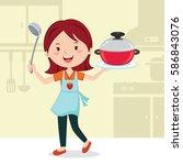 woman preparing food in the... | Shutterstock .eps vector #586843076