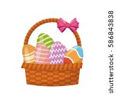 basket egg easter celebration | Shutterstock .eps vector #586843838