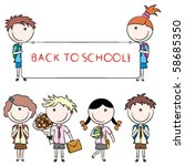 cheerful cute school kids with... | Shutterstock .eps vector #58685350