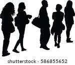 full length of silhouette... | Shutterstock .eps vector #586855652