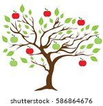 vector illustration of an apple ... | Shutterstock .eps vector #586864676