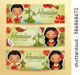 hawaiian  traditional costumes  ... | Shutterstock .eps vector #586868672