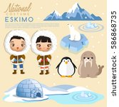 eskimo traditional costumes  ... | Shutterstock .eps vector #586868735