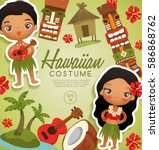 hawaiian  traditional costumes  ... | Shutterstock .eps vector #586868762