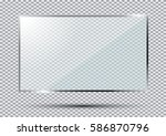 glass plate isolated on... | Shutterstock . vector #586870796