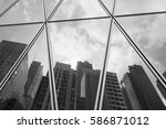 black and white  reflection of... | Shutterstock . vector #586871012