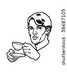 tea drinker   retro clip art | Shutterstock .eps vector #58687105
