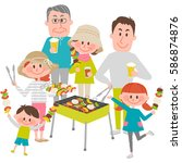 illustration of family enjoying ... | Shutterstock .eps vector #586874876
