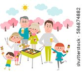 illustration of family enjoying ... | Shutterstock .eps vector #586874882