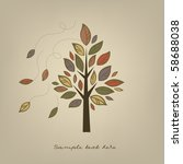 Card With Stylized Autumn Tree