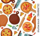 hot fresh pizza banner seamless ... | Shutterstock .eps vector #586886732