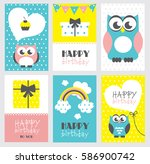 set of six happy birthday card... | Shutterstock .eps vector #586900742