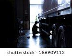 silhouette blur automobile... | Shutterstock . vector #586909112