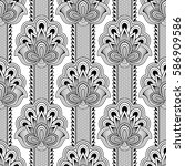 seamless asian ethnic floral... | Shutterstock . vector #586909586