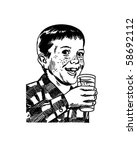 boy with drinking glass   retro ... | Shutterstock .eps vector #58692112