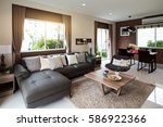 beautiful room interior with... | Shutterstock . vector #586922366