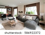 beautiful room interior with... | Shutterstock . vector #586922372