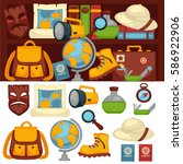 tourists set of necessary... | Shutterstock .eps vector #586922906