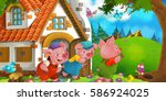cartoon scene with three pigs...   Shutterstock . vector #586924025