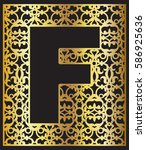 stylized black letter f with... | Shutterstock .eps vector #586925636