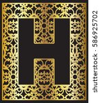 stylized black letter h with... | Shutterstock .eps vector #586925702
