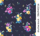 vector floral seamless pattern... | Shutterstock .eps vector #586940216