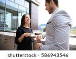 business people having break on ... | Shutterstock . vector #586943546