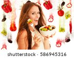 healthy eating    woman eats a... | Shutterstock . vector #586945316