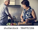 senior couple daily lifestyle... | Shutterstock . vector #586952186