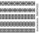 set of black borders isolated... | Shutterstock .eps vector #586954322