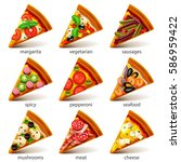pizza slices icons photo... | Shutterstock .eps vector #586959422