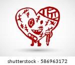 broken heart character icon in... | Shutterstock .eps vector #586963172