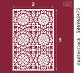 laser cut ornamental panel with ... | Shutterstock .eps vector #586963472