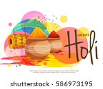 happy holi celebration poster... | Shutterstock .eps vector #586973195
