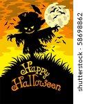 happy halloween sign with... | Shutterstock .eps vector #58698862