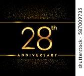 twenty eight years anniversary... | Shutterstock .eps vector #587009735