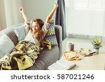 10 years old pre teen girl... | Shutterstock . vector #587021246