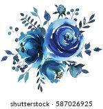 Indigo Blue  Watercolor Hand...