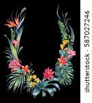 natural exotic watercolor... | Shutterstock . vector #587027246