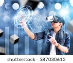visual reality concept.young... | Shutterstock . vector #587030612