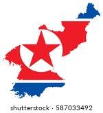 north korea flag map | Shutterstock .eps vector #587033492