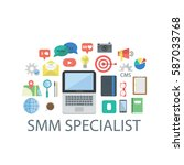 illustration of smm objects.... | Shutterstock .eps vector #587033768